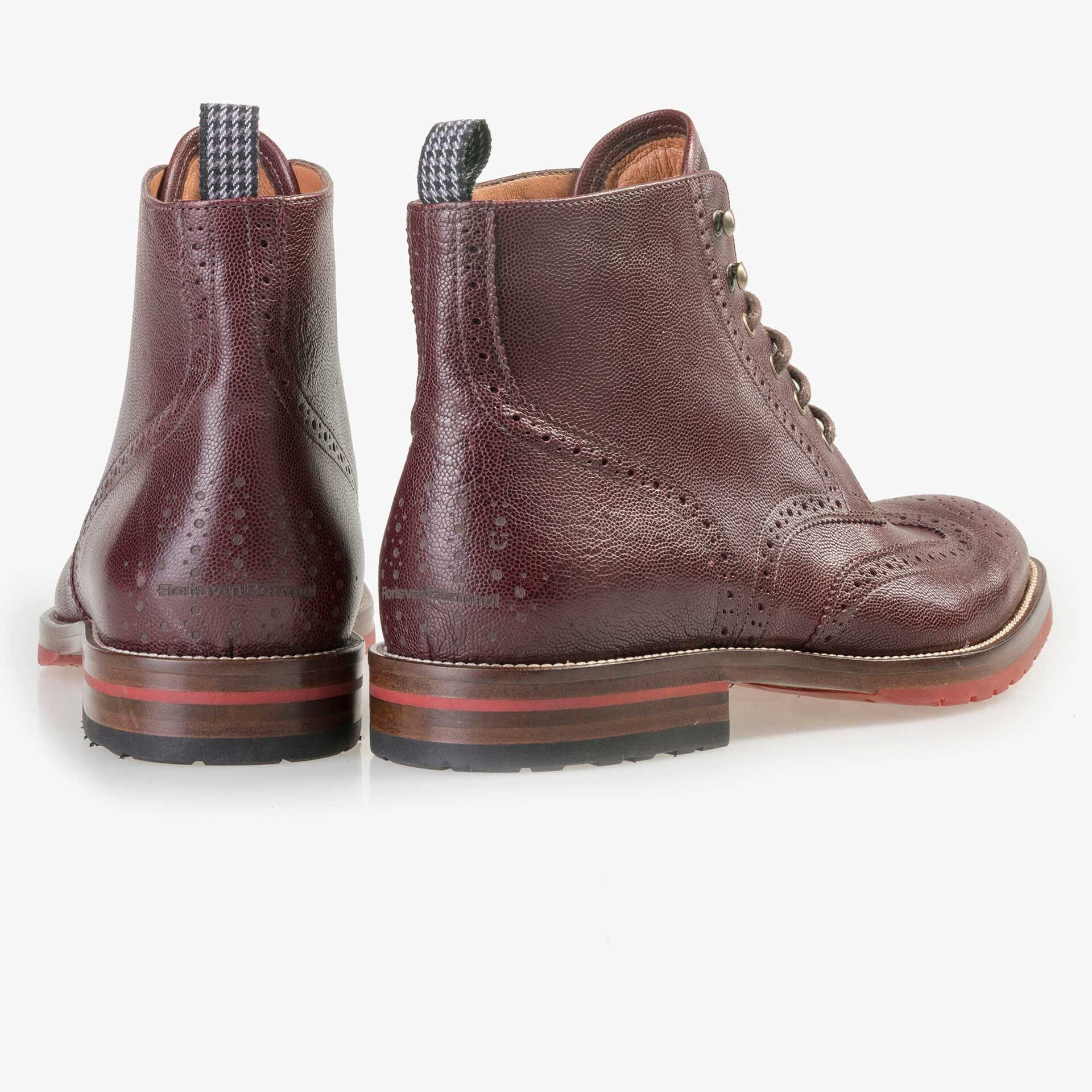 Floris van Bommel men's claret brogue leather lace boot