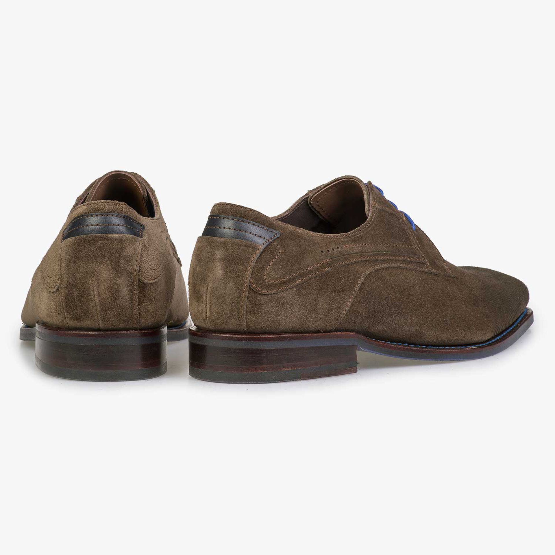 Taupe-coloured suede leather lace shoe with laser print