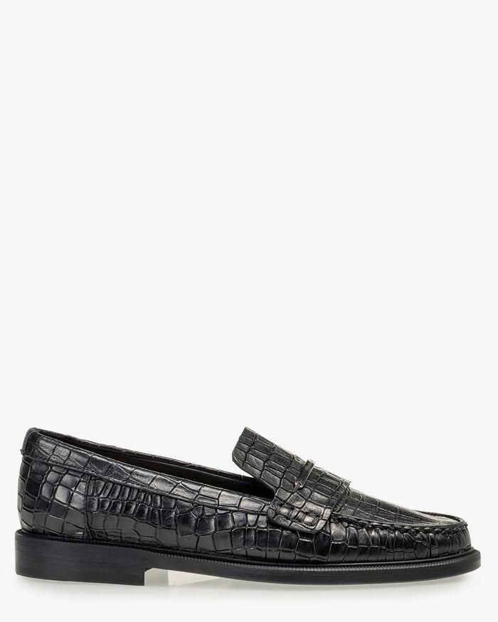 Loafer reptielenprint zwart