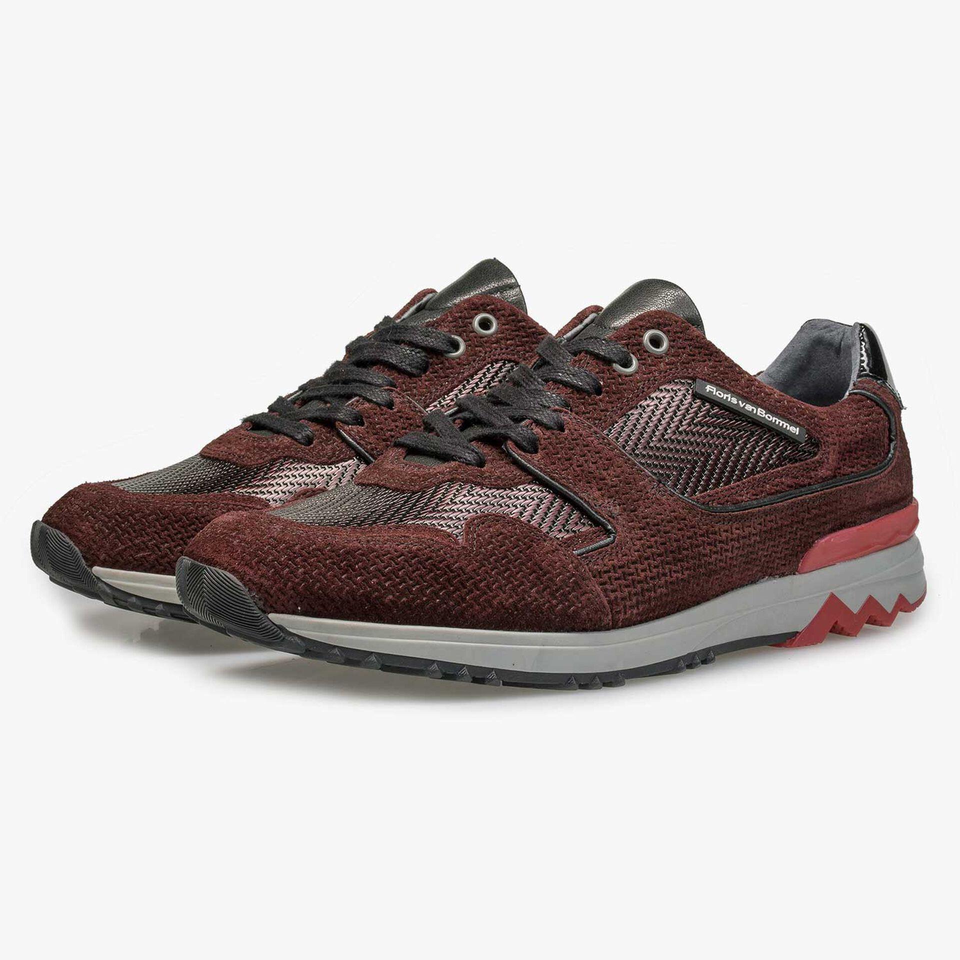 Bordeauxrode leren sneaker met metallicprint