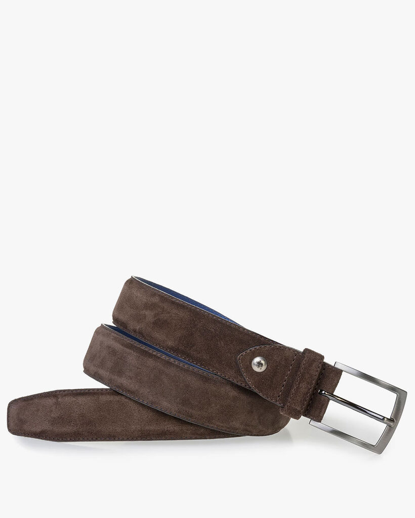 Brown suede leather belt