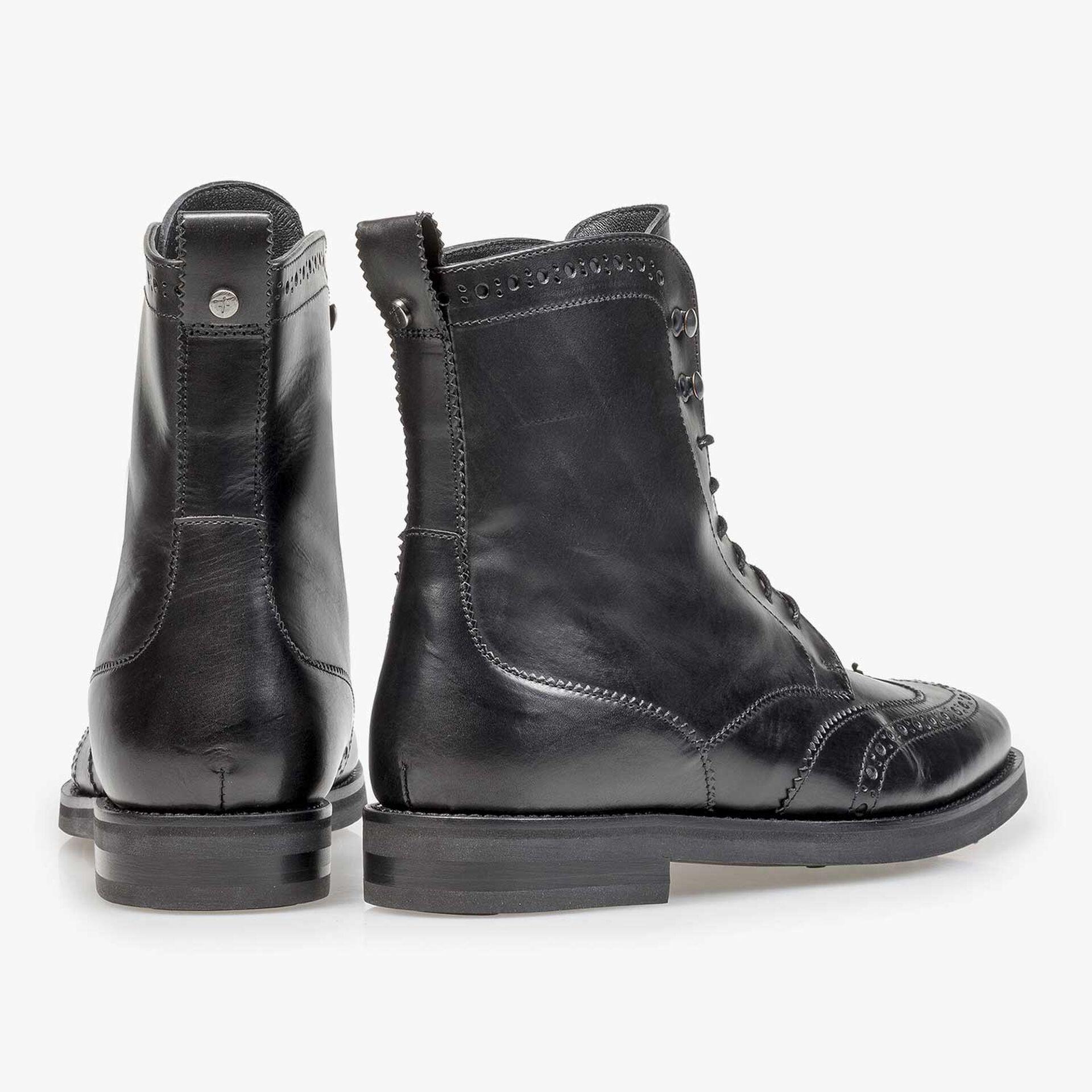 Black calf leather biker lace boot