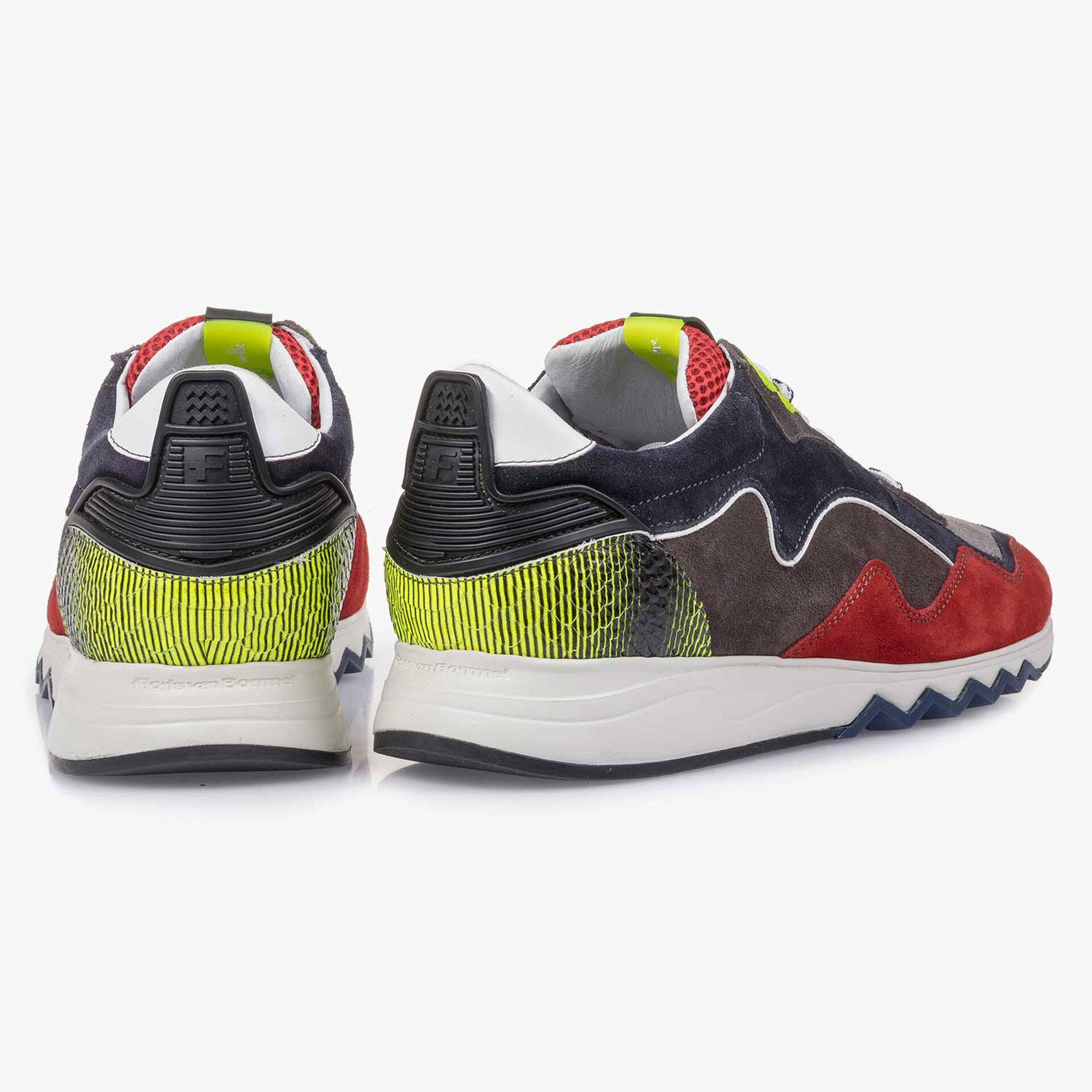 Red-yellow suede leather sneaker
