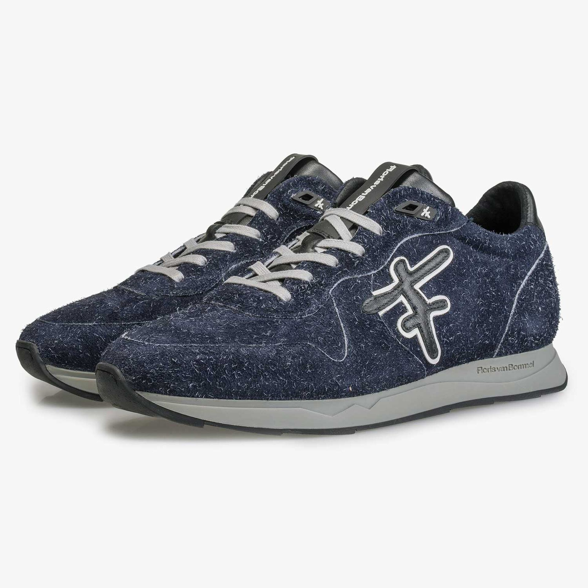Blue Sneaker made of rough-haired suede leather