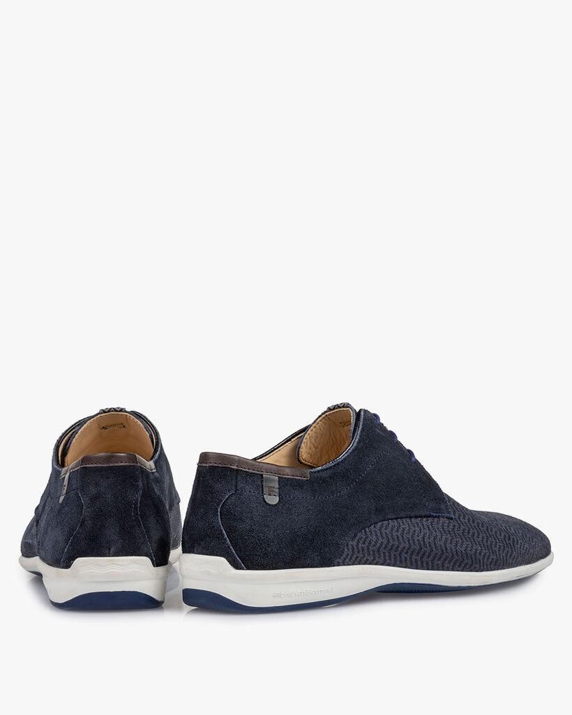 Lace shoe printed nubuck leather blue