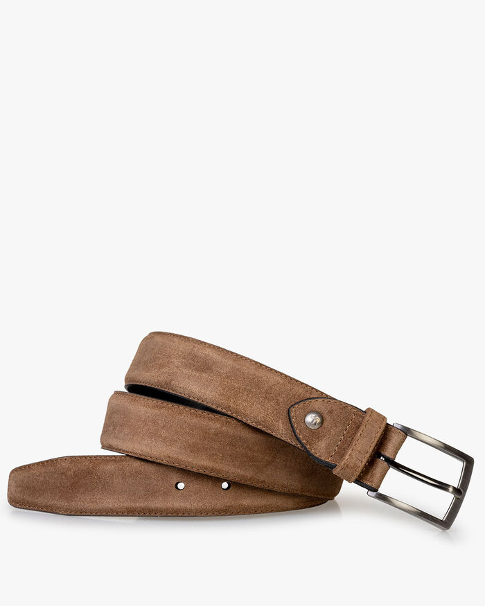 Belt suede leather cognac