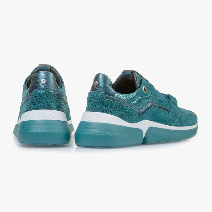 Blue suede leather sneaker with metallic print