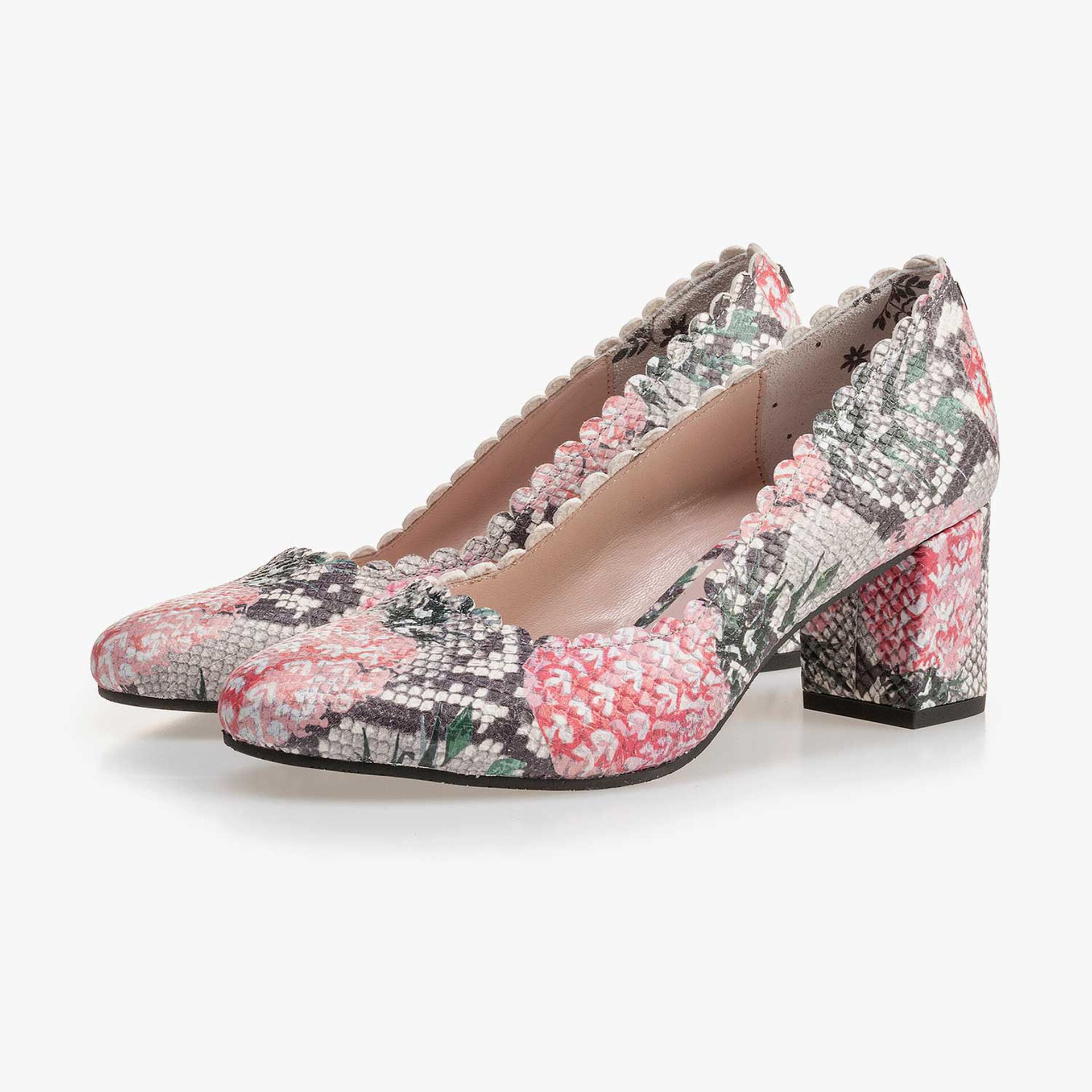 Multi-coloured leather pumps with printed motif