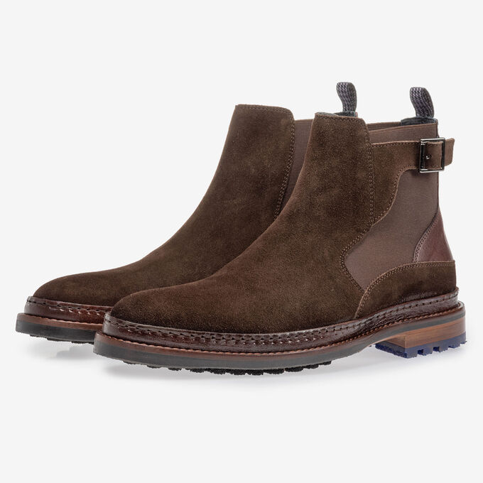 Chelsea boot donkerbruin suède