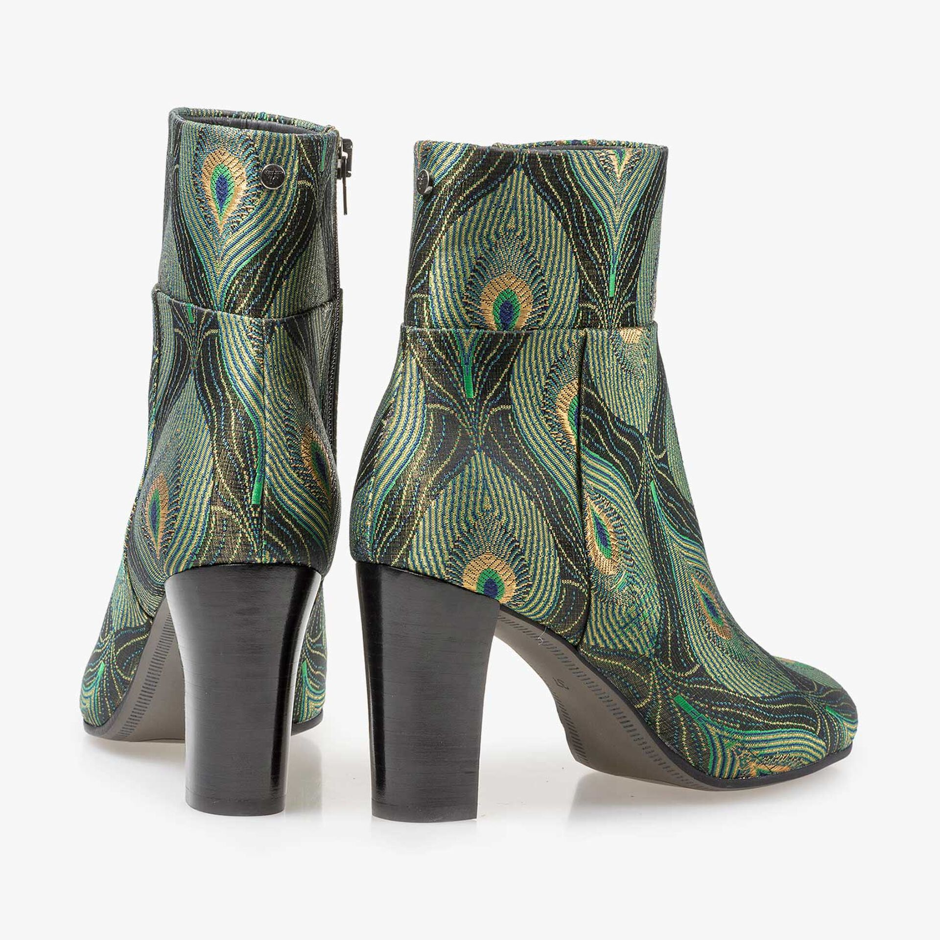 Ankle boots with peacock print