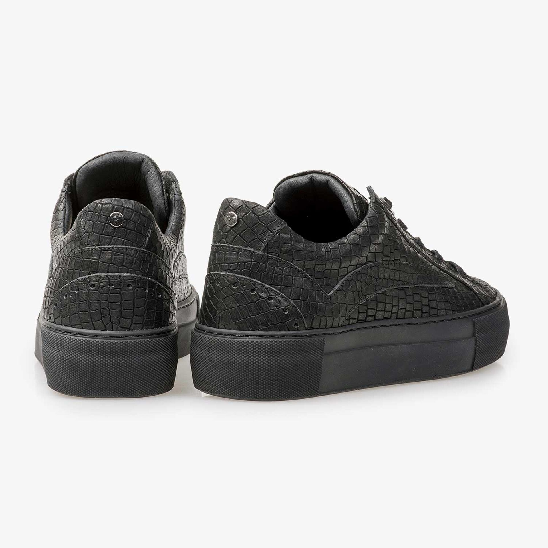 Black leather sneaker with croco print