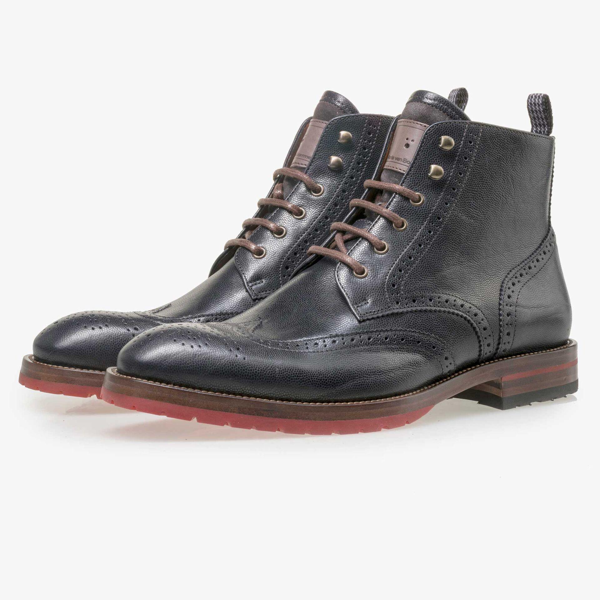 Floris van Bommel men's dark blue brogue leather lace boot