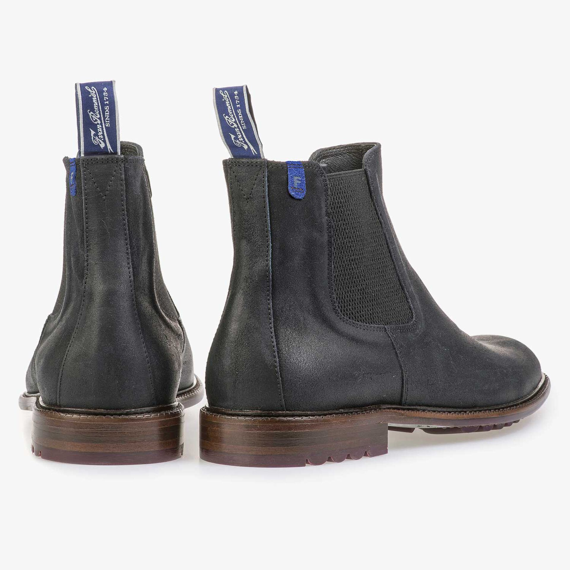 Blue suede leather Chelsea boot