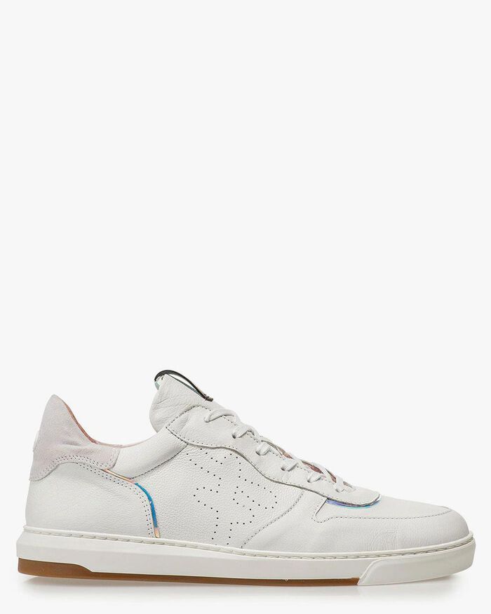 Witte leren sneaker met print