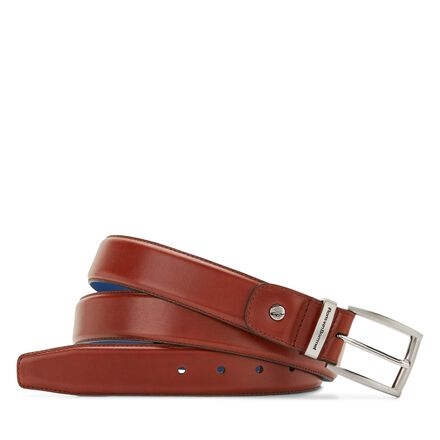 Leather belt with a cobalt blue lining