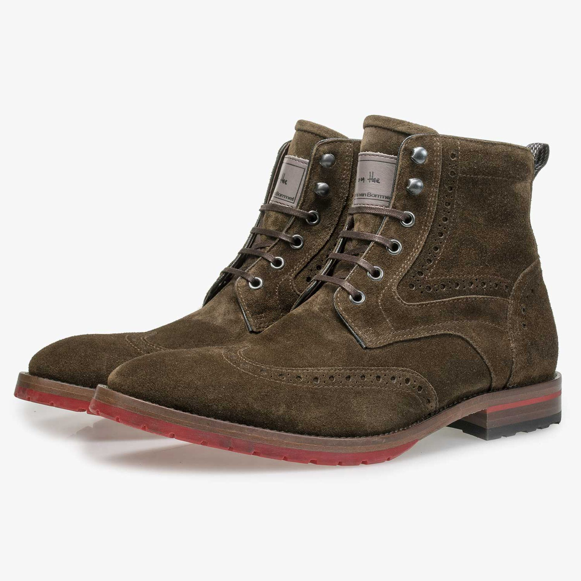 Olive green calf suede leather brogue lace boot
