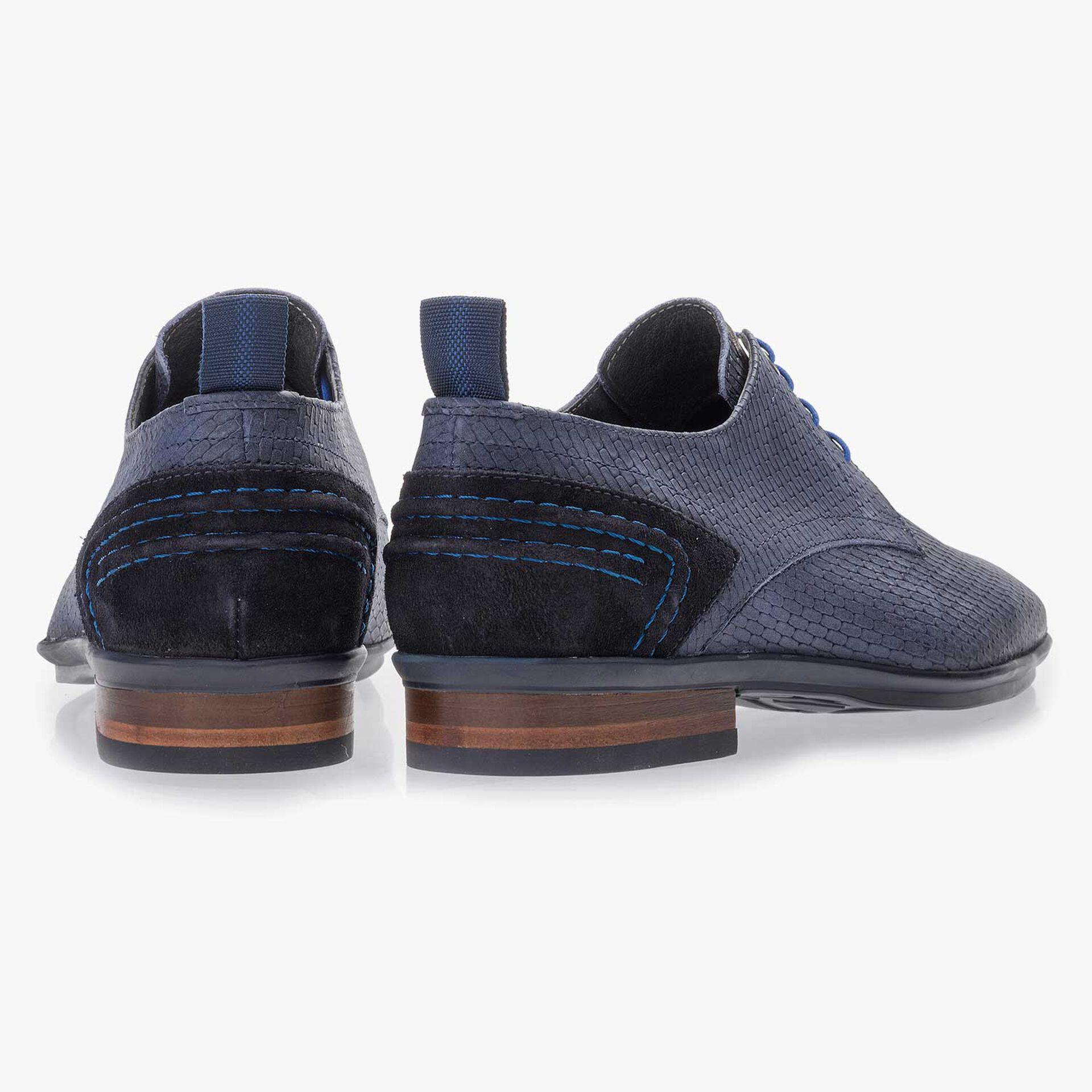 Blue nubuck leather lace shoe