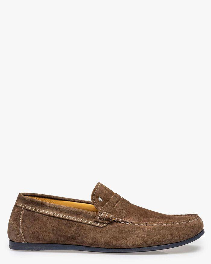 Suède loafer taupekleurig