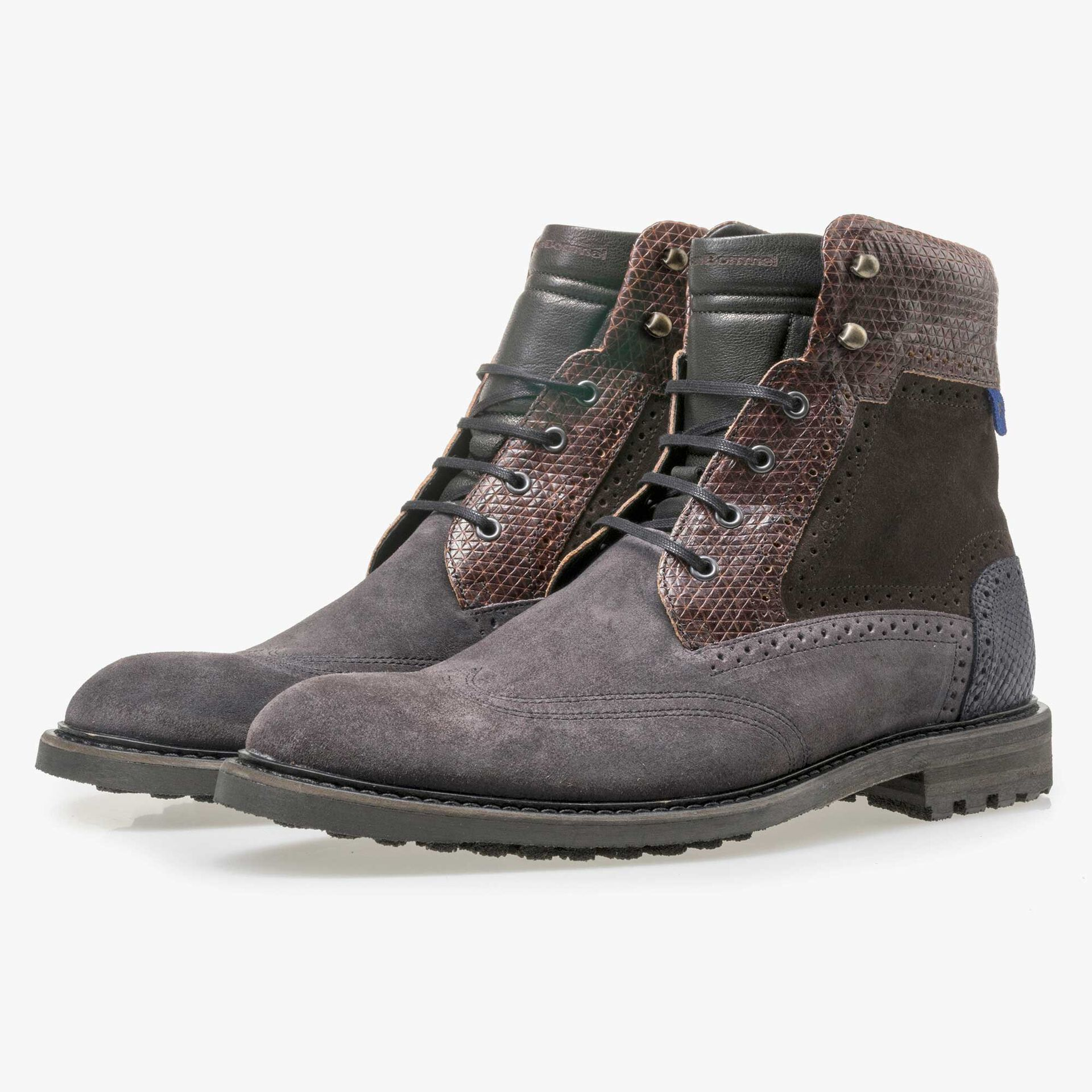Floris van Bommel dark grey high suede leather lace boot