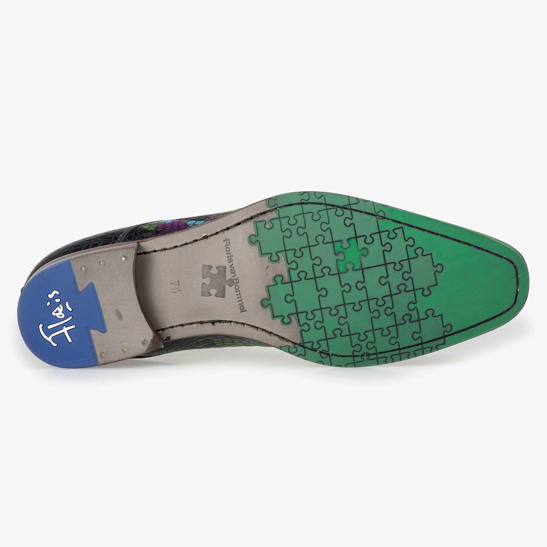 Floris van Bommel Premium men's multi-coloured croco print lace boot