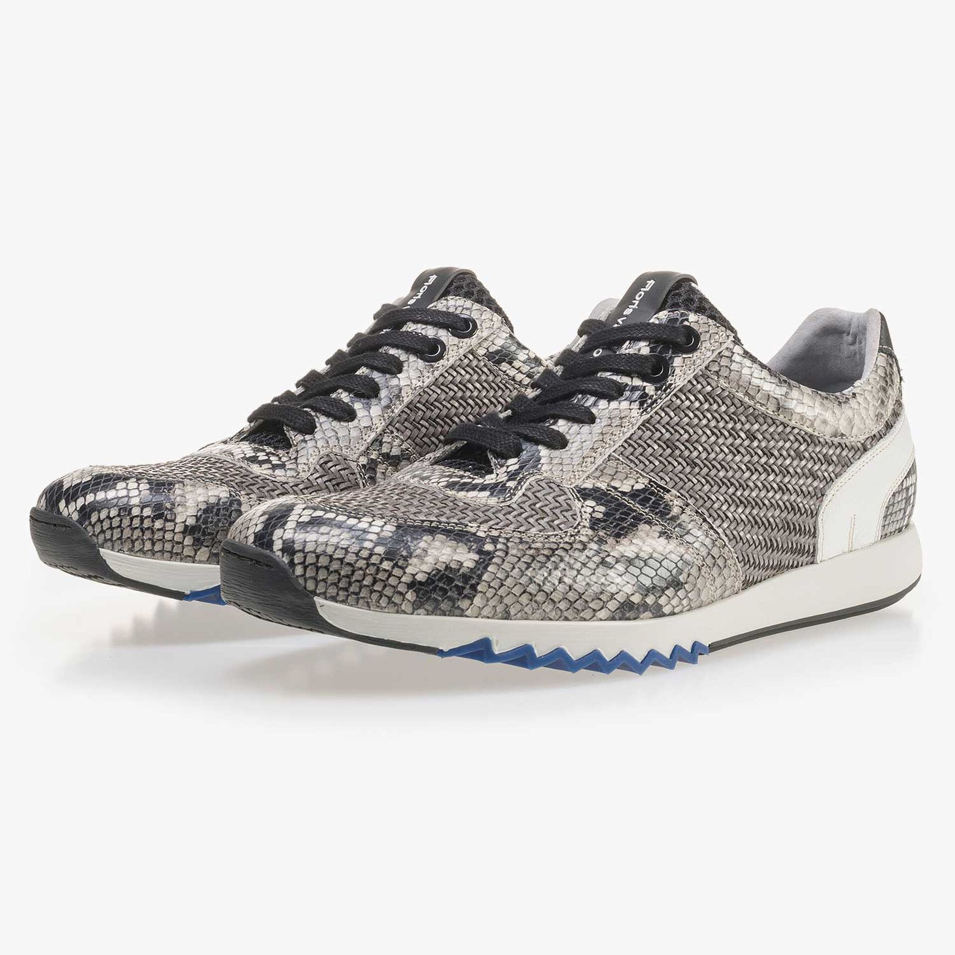 Grey leather sneaker with a snake print