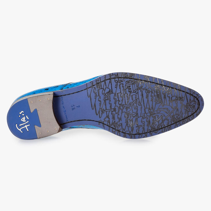 Premium blue lace shoe with snake print