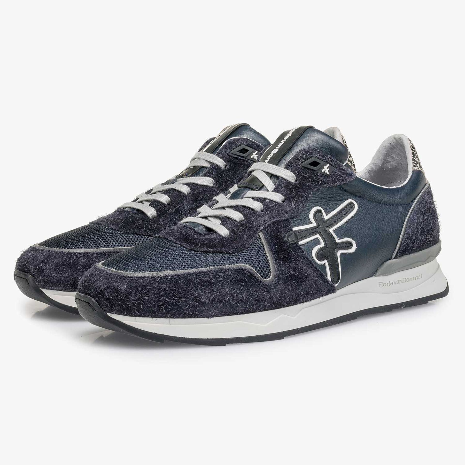 Donkerblauwe kalfsleren sneaker