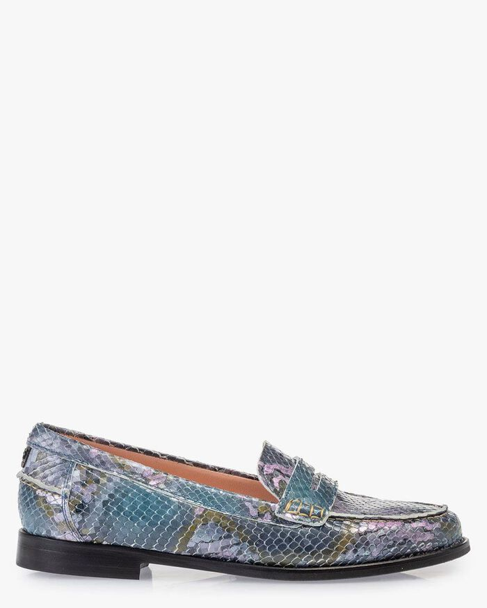 Loafer printed leather blue