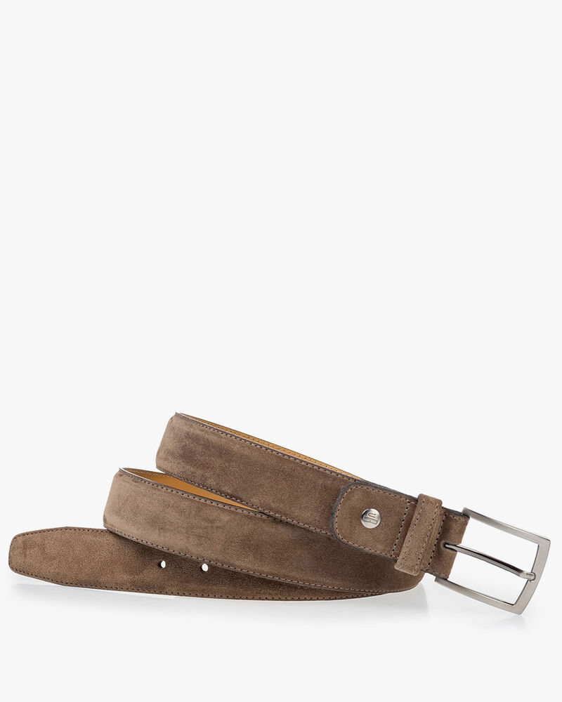Suede leather belt taupe