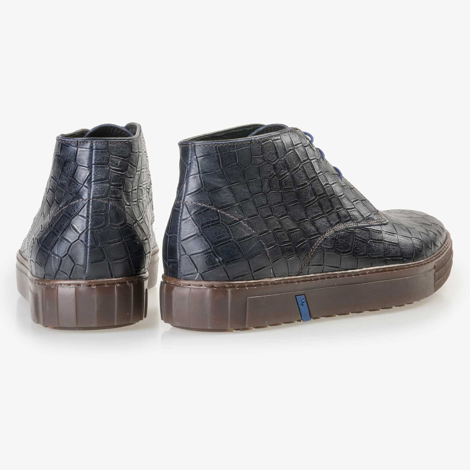 Floris van Bommel men's mid-high blue city sneaker finished with a crocodile print