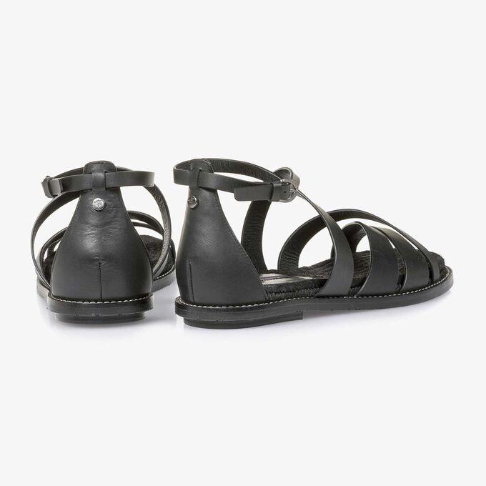 Zwarte leren sandaal