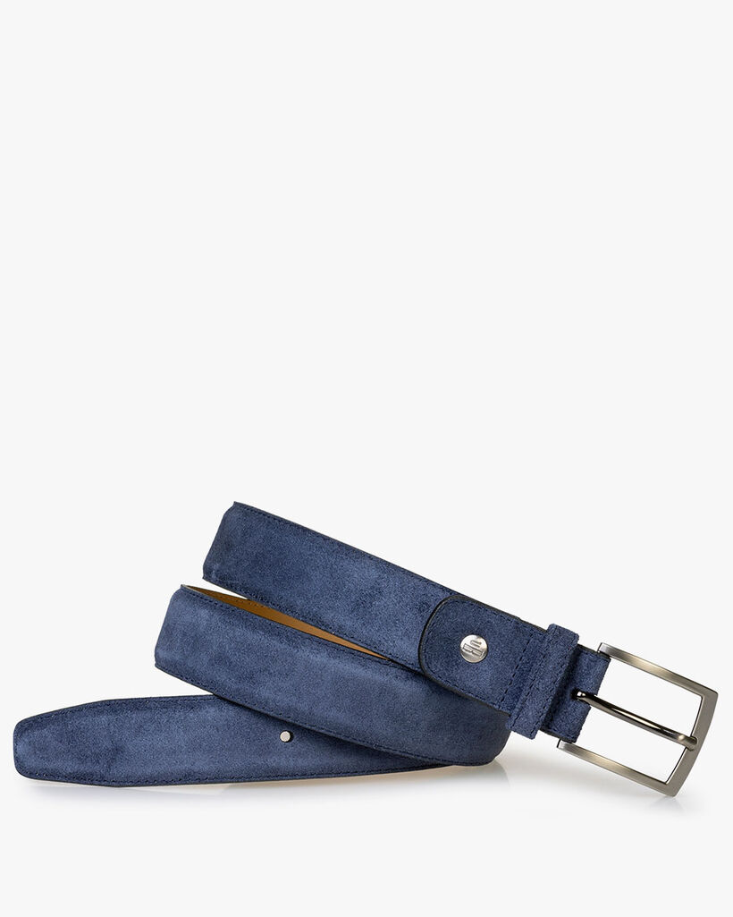 Belt suede leather blue