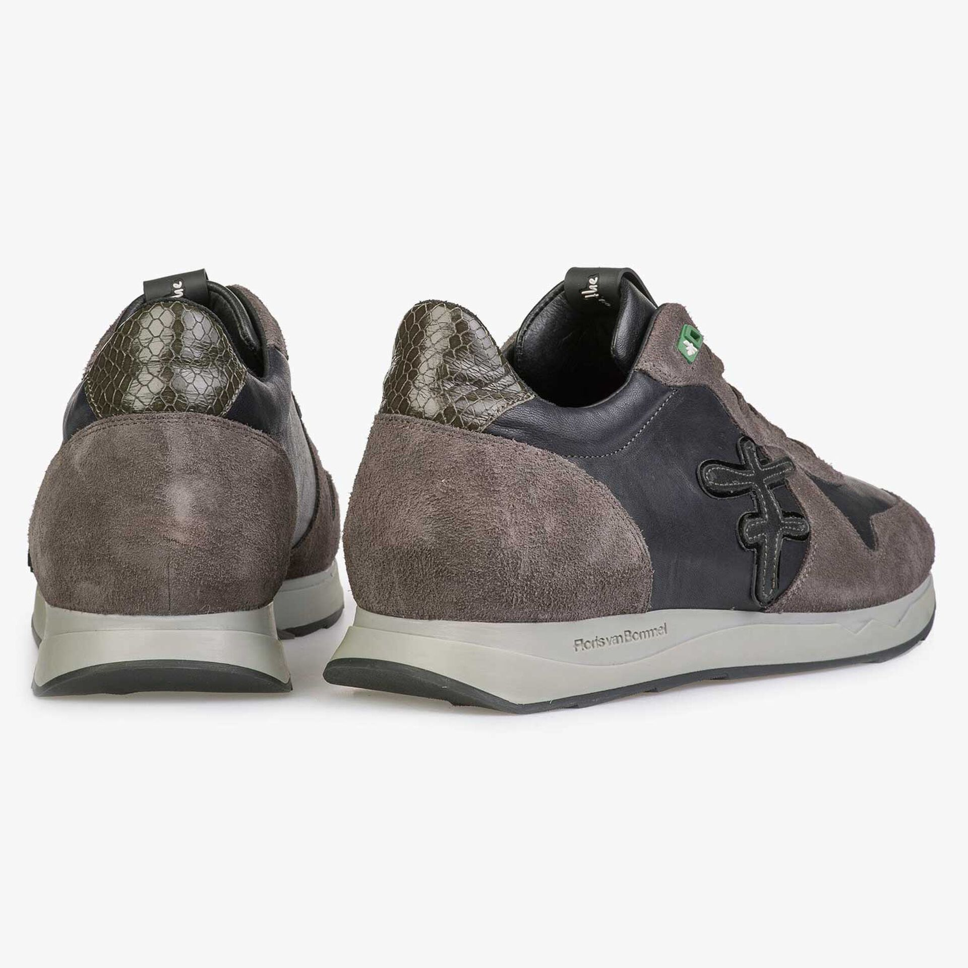 Blue / Grey-brown leather sneaker with F-logo