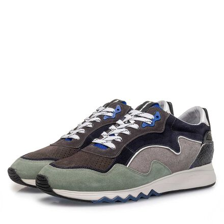 Suede leather sneaker with jogger sole
