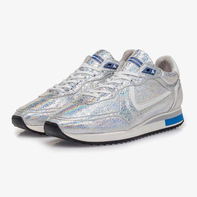 Zilveren metallic leren sneaker