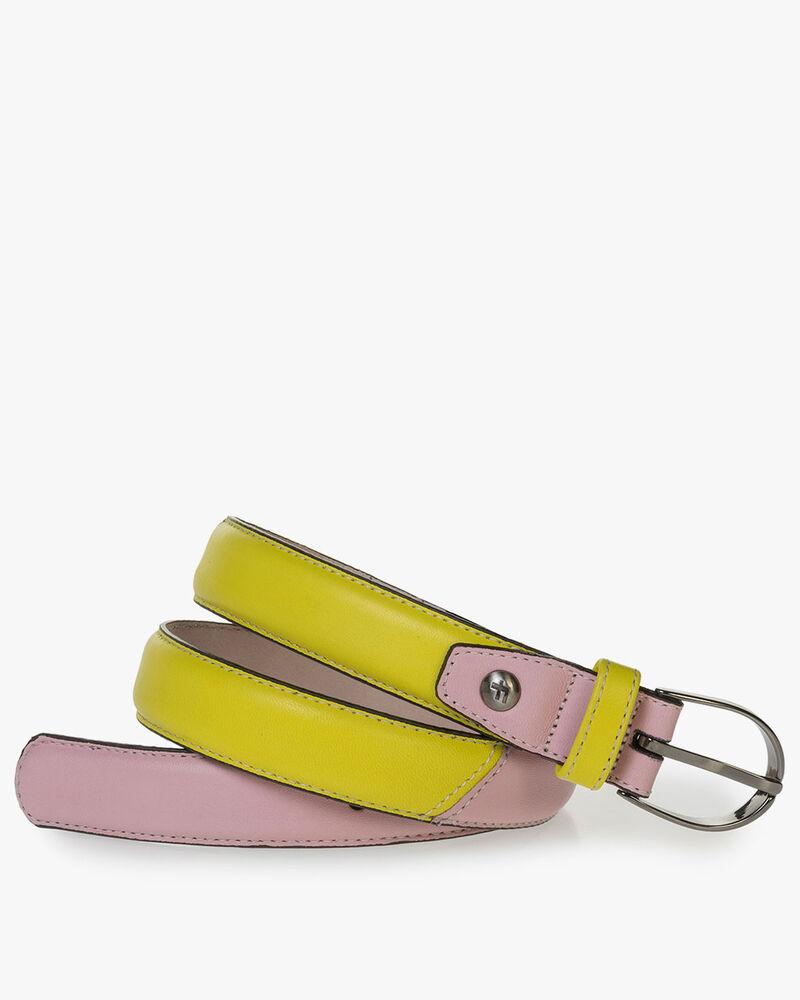 Nappaleren riem geel/roze