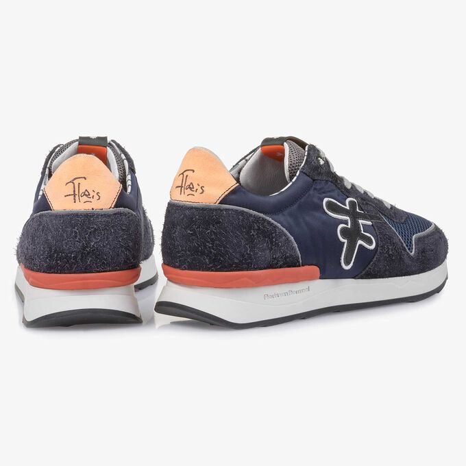 Dark blue-orange suede leather sneaker