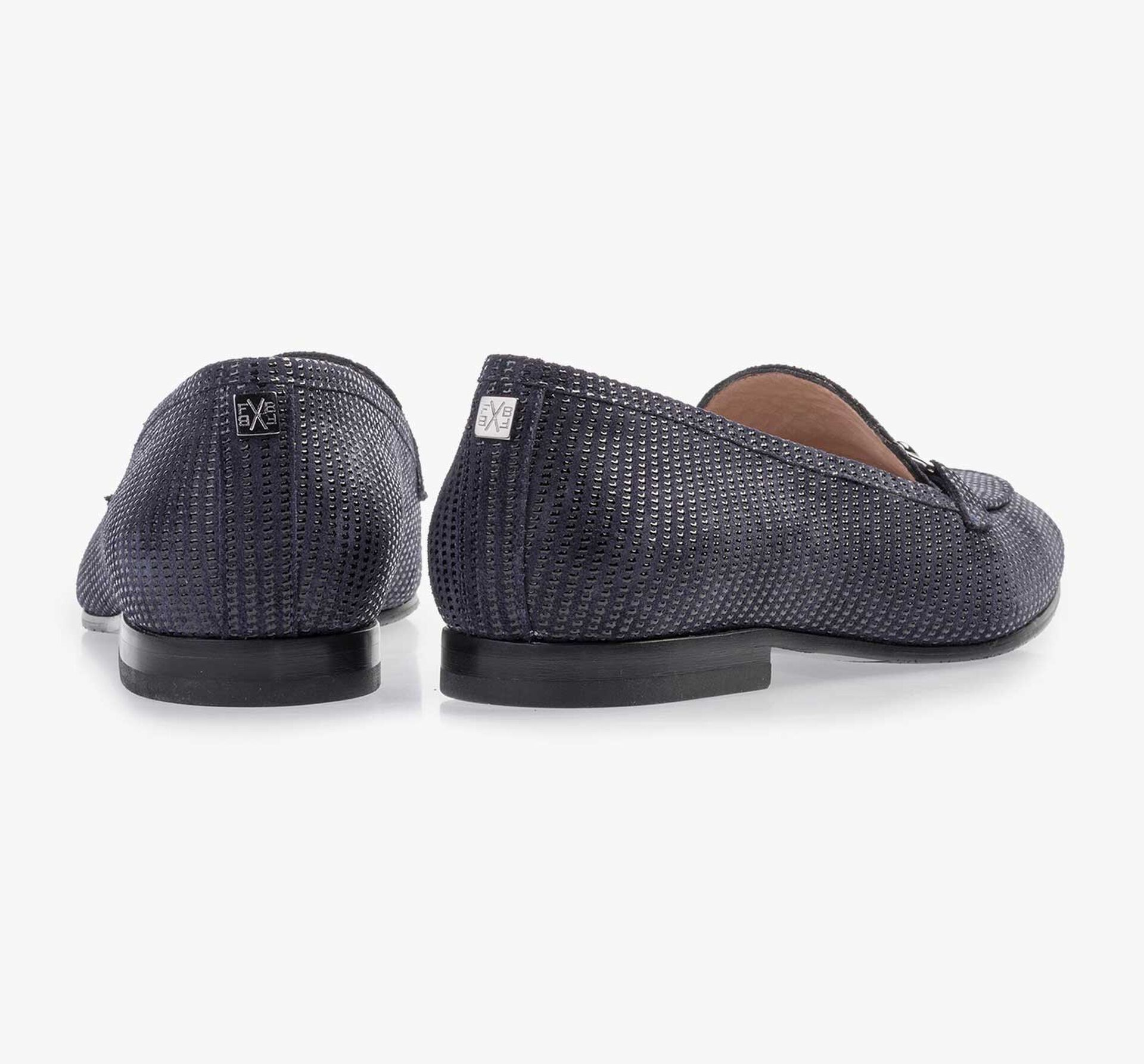 Dark blue suede leather loafer with printed motif
