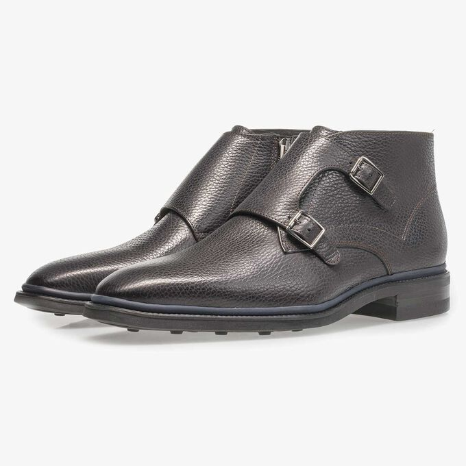 Black calf leather monk strap with print