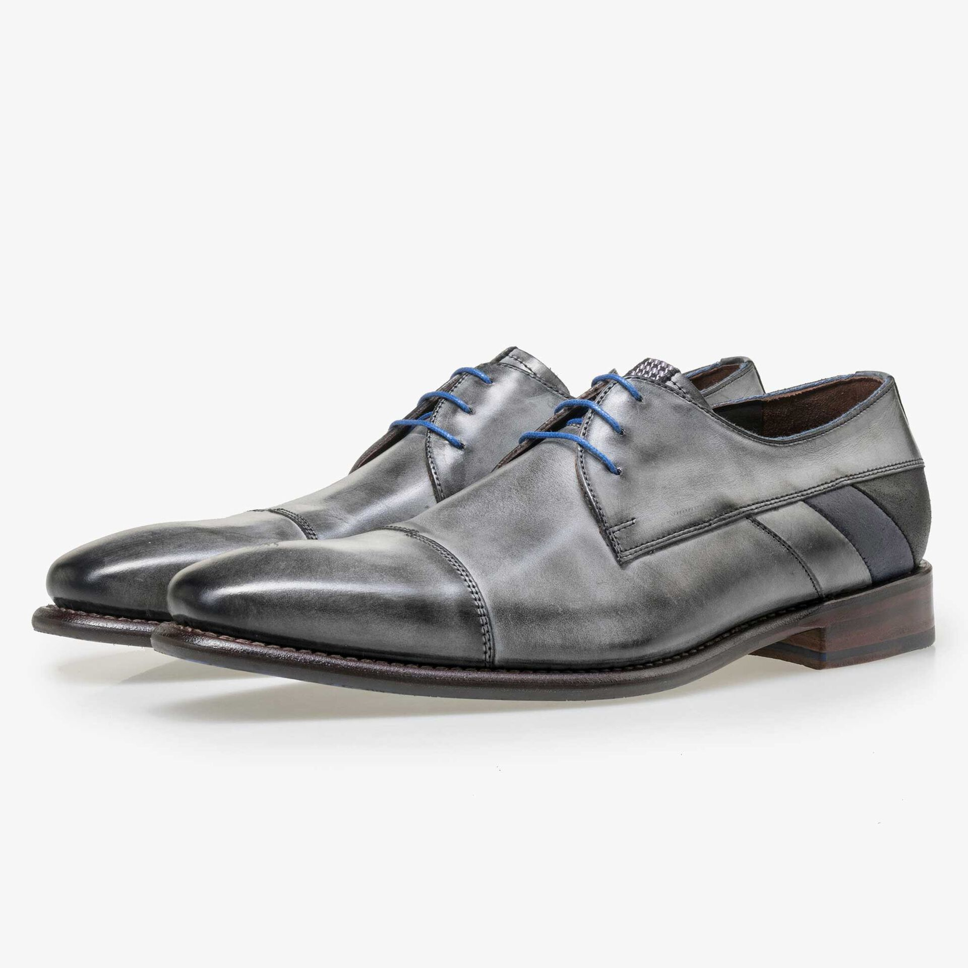 Floris van Bommel men's grey leather lace shoe
