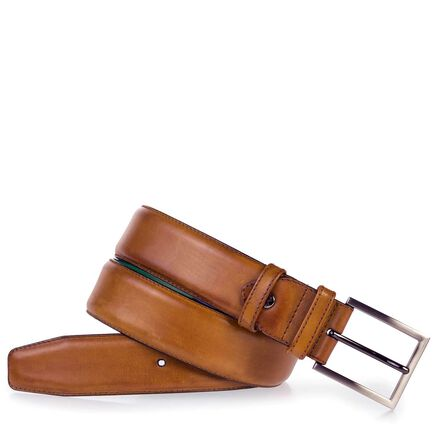 Calf's leather belt with green lining