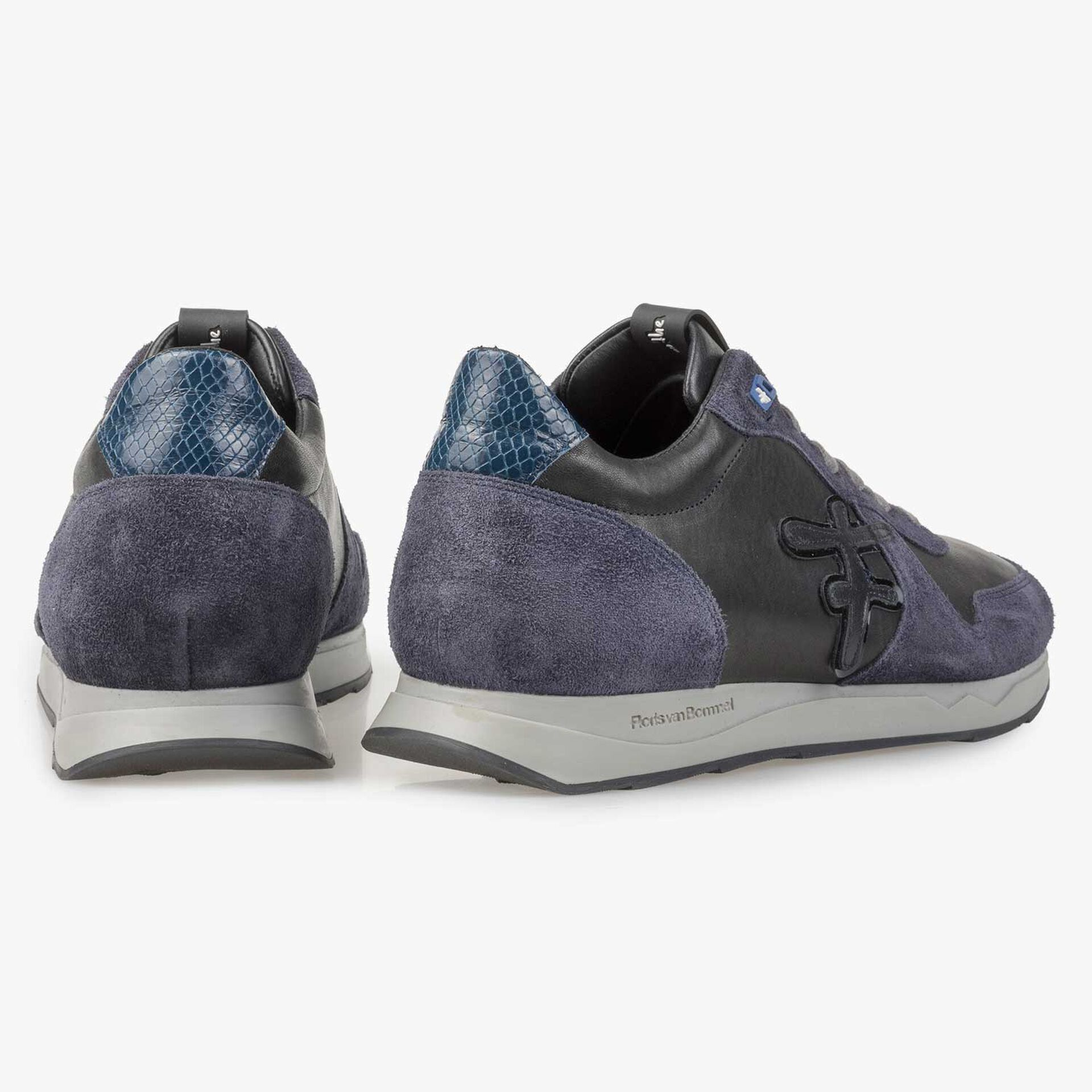 Nappa leather sneaker with blue suede leather accents
