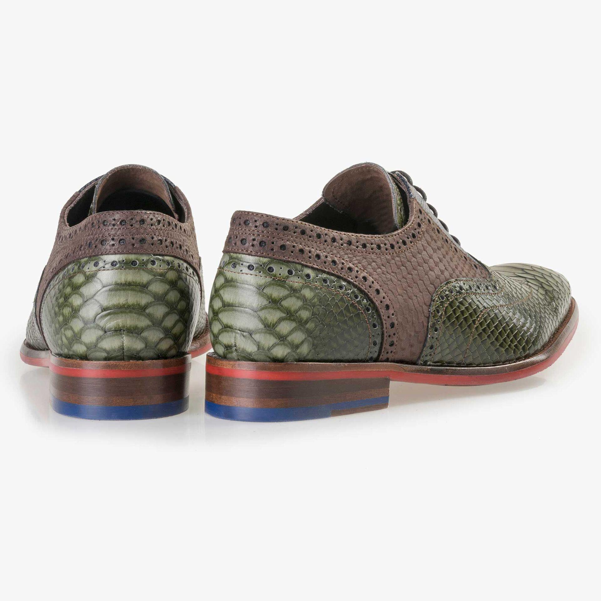 Floris van Bommel men's green leather lace shoe