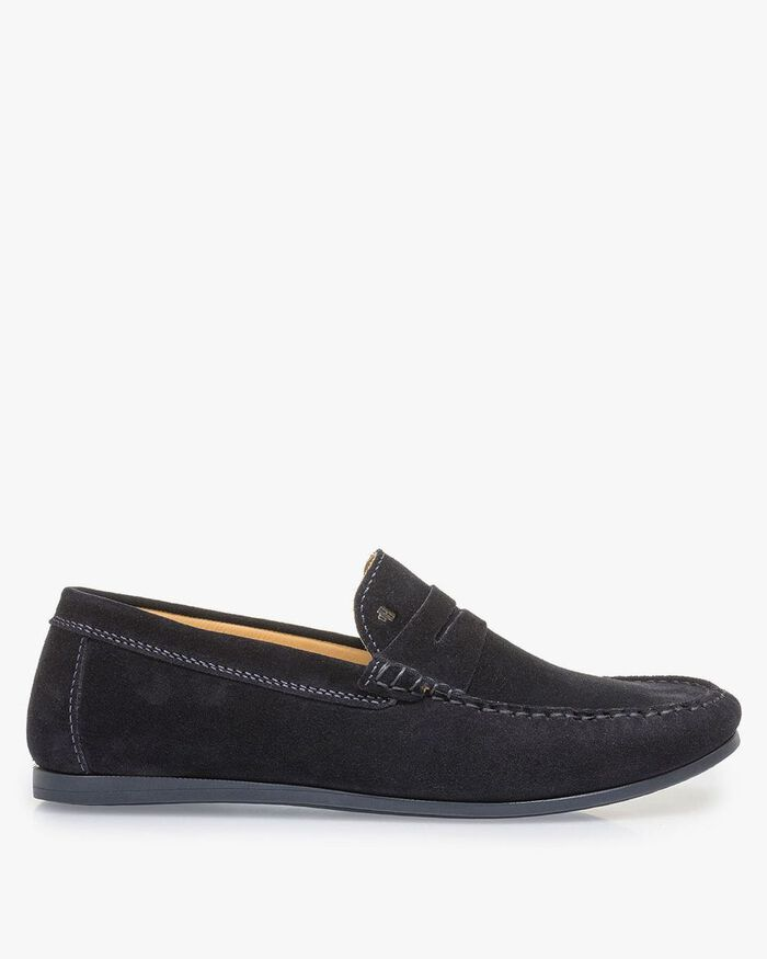 Dark blue suede leather loafer