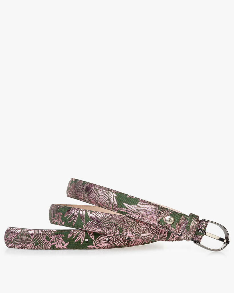 Damesriem groen met roze print