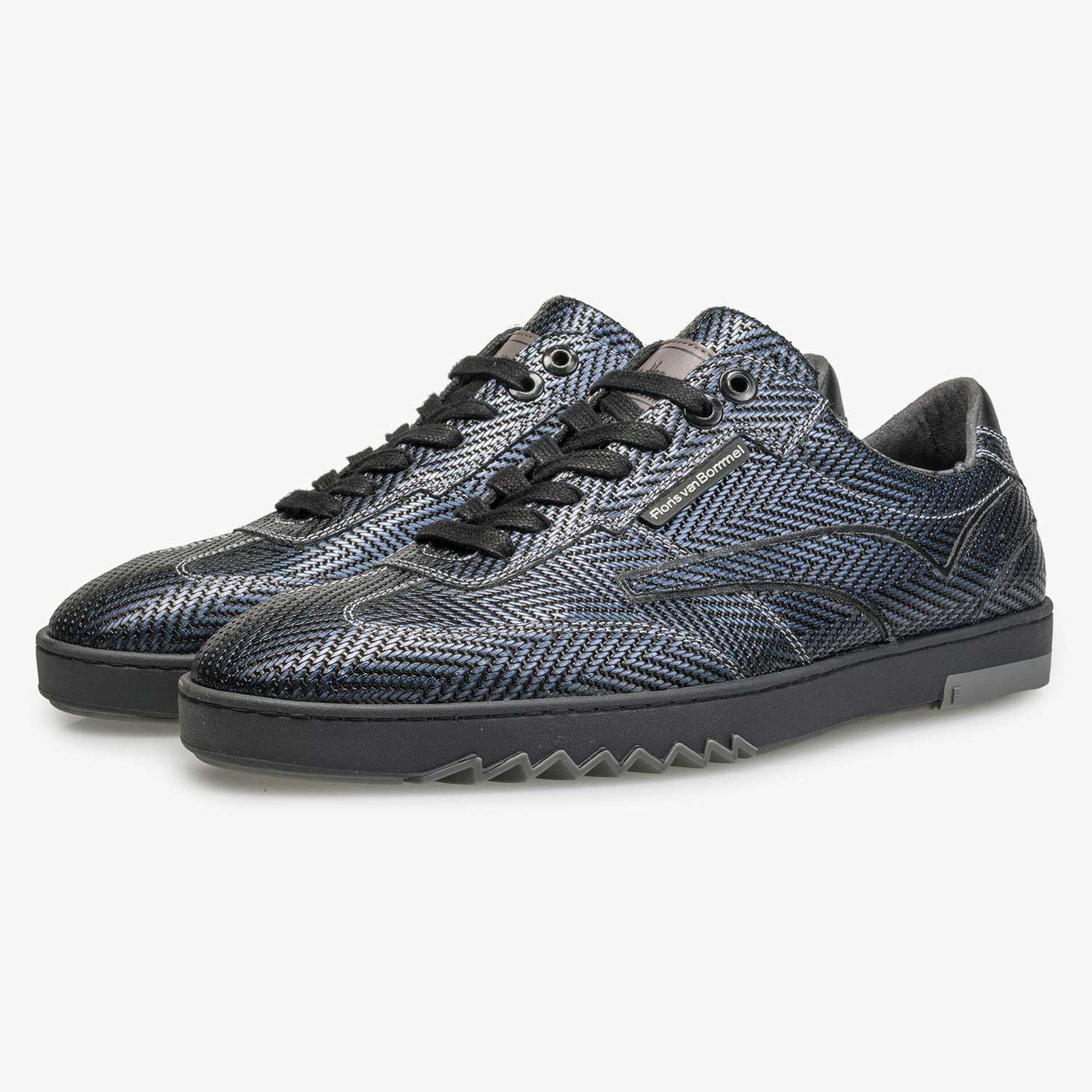 Premium blauwe sneaker met visgraatdessin