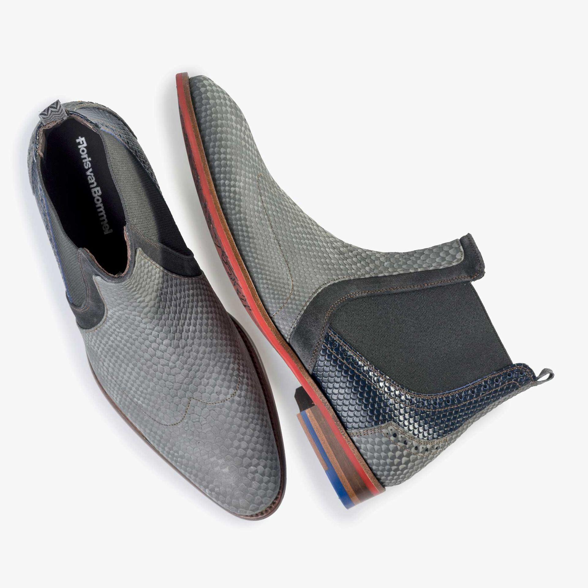 Floris van Bommel men's grey leather Chelsea boot