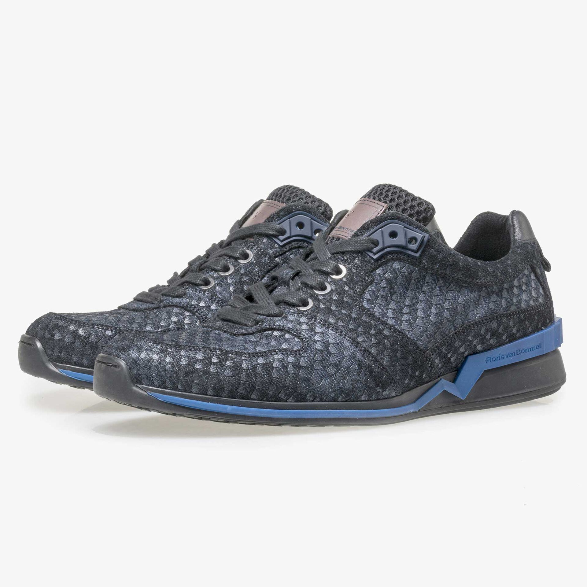 Floris van Bommel blue suede leather snake print sneaker