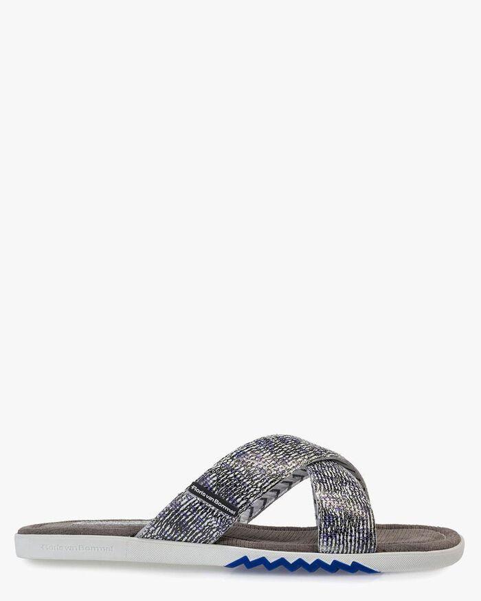 Slipper met print zwart/wit