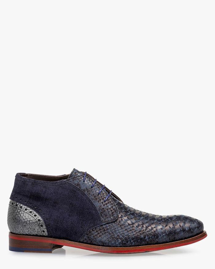 Lace boot nubuck leather dark blue